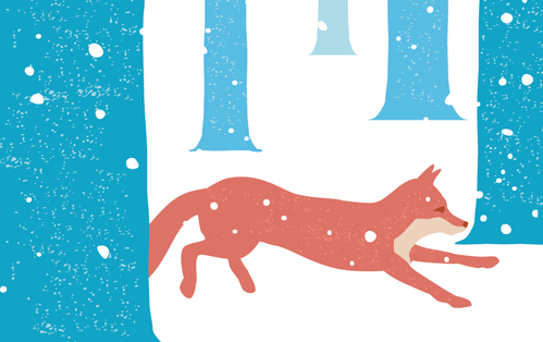 illustration depicting a fox running through a snowy forest