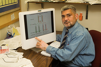 Dr. Klar at his computer