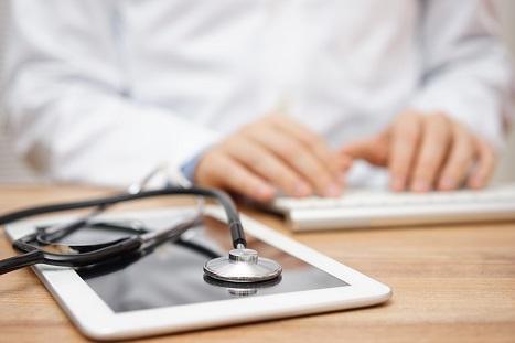 keyboard and stethoscope