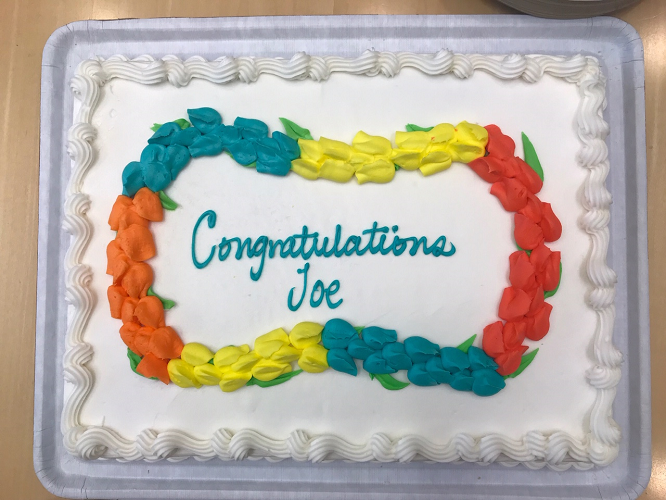 Cake for celebration of Joe Ziegelbauer's tenure appointment:  Congratulations Joe!