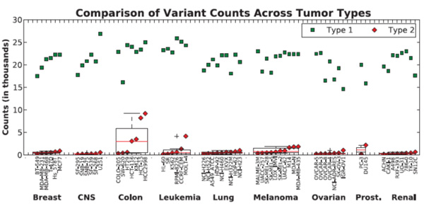 Results of whole exome sequencing of the NCI-60 cell lines. Variant counts for each cell line from tumor type are plotted for Type 1 and Type 2 fraction as green squares and red diamonds, respectively. Within each tumor type, the variant counts are sorted from lowest to highest, and a box plot is superimposed to demonstrate subgroup mean and spread.