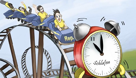 Cartoon illustrating how SLFN11acts like an alarm clock against abnormal DNA replication in a DNA-damaged cell