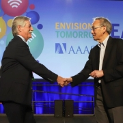 Shaking hands with Steve Chu at AAAS Fellow reception in Seattle, pre-COVID