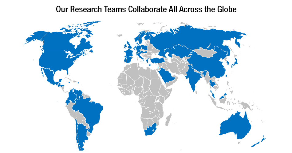 Our Research Teams Collaborate All Across the Globe with map